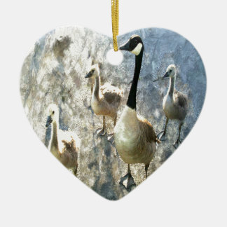 goose ceramic heart decoration