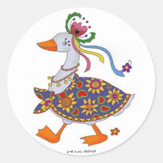 Goose Goes Out Ukrainian Folk Art Round Sticker