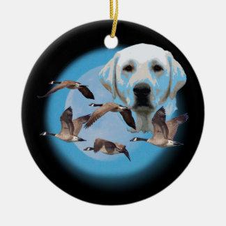Goose hunter 3 ceramic ornament