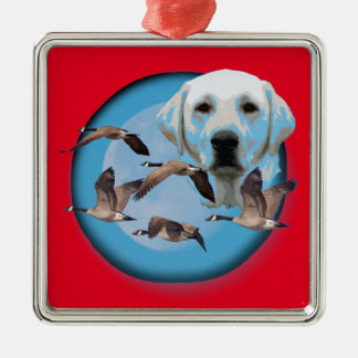 Goose hunter 3 Silver-Colored square decoration