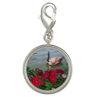 Goose In a Rose Pond Charm