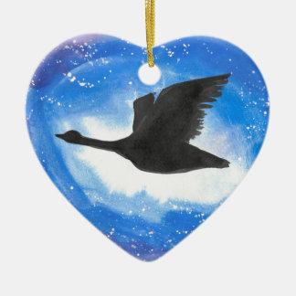 Goose In Flight Ceramic Heart Decoration