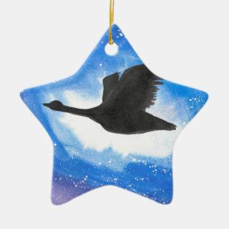 Goose In Flight Ceramic Ornament