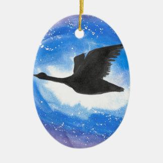 Goose In Flight Ceramic Oval Decoration