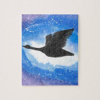 Goose In Flight Jigsaw Puzzle
