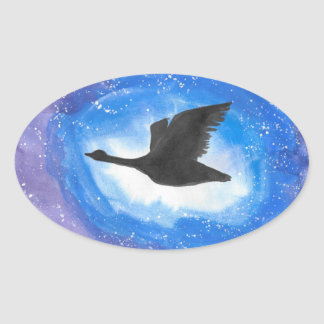 Goose In Flight Oval Sticker