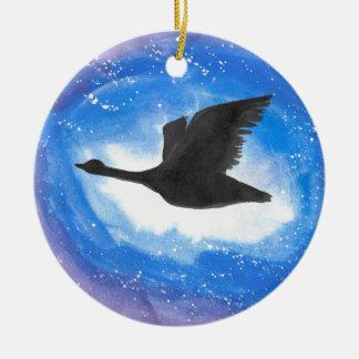Goose In Flight Round Ceramic Decoration