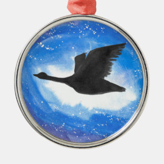 Goose In Flight Silver-Colored Round Decoration