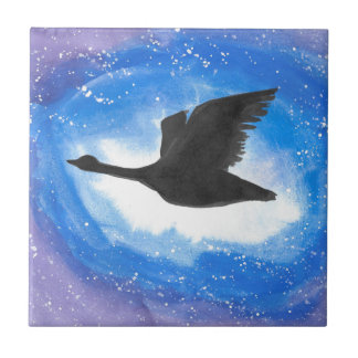 Goose In Flight Small Square Tile