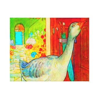 GOOSE IN THE HOUSE STRETCHED CANVAS PRINTS