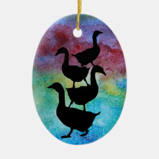 Goose Pile Ceramic Ornament