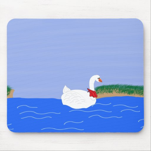 Goose White in Lake Cartoon Art Mouse Pads