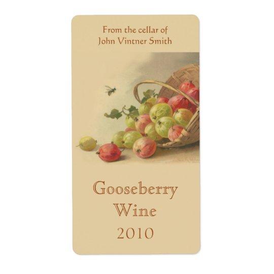 Gooseberry wine bottle label shipping label
