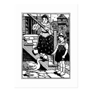 Goosey, Goosey, Gander Nursery Rhyme Postcard