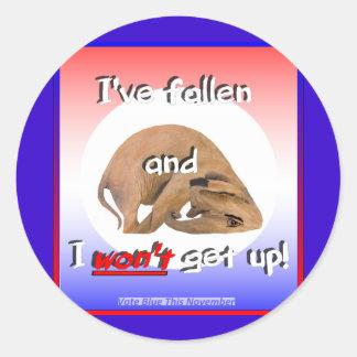 GOP elephant: 'I've fallen & I won't get up!' Classic Round Sticker