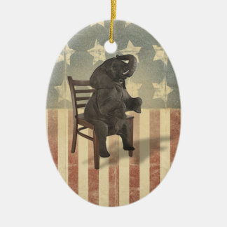GOP Elephant Takes Over the Chair Funny Political Ceramic Oval Decoration
