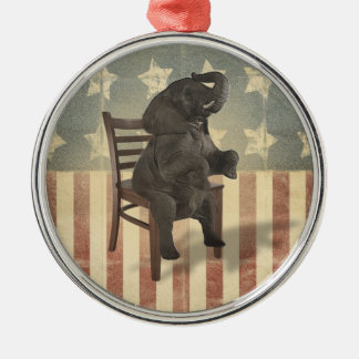 GOP Elephant Takes Over the Chair Funny Political Christmas Tree Ornament