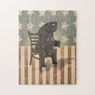 GOP Elephant Takes Over the Chair Funny Political Jigsaw Puzzle