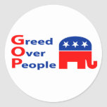 GOP - Greed Over People Round Sticker