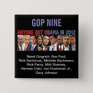 GOP Nine - 2012 Republican Primary Election 15 Cm Square Badge