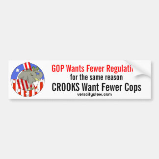 GOP Wants Fewer Regulations Bumper Sticker