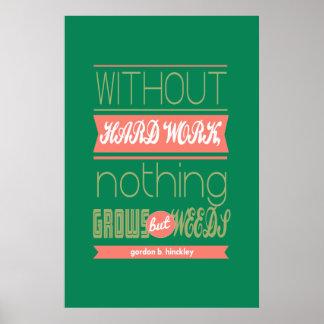 Gordon B Hinckley without hard work nothing grows Poster