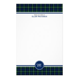 Gordon Clan Dark Blue and Green Tartan Monogram Stationery
