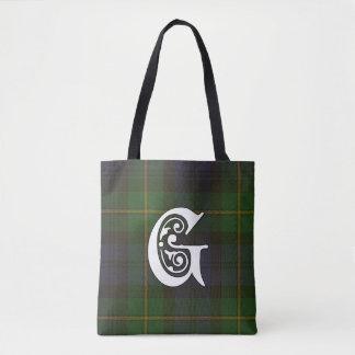 Gordon Clan Tartan Monogram Tote Bag