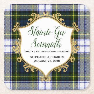 Gordon Dress Plaid Gaelic Wedding Paper Coasters