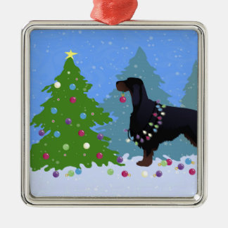 Gordon Setter decorating tree in the For Metal Ornament