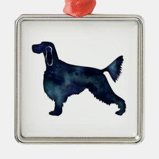 Gordon Setter Dog Black Watercolor Silhouette Metal Ornament