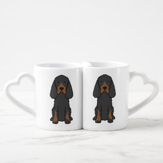 Gordon Setter Dog Cartoon Coffee Mug Set
