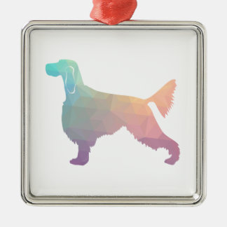 Gordon Setter Geometric Pattern Silhouette  Pastel Metal Ornament