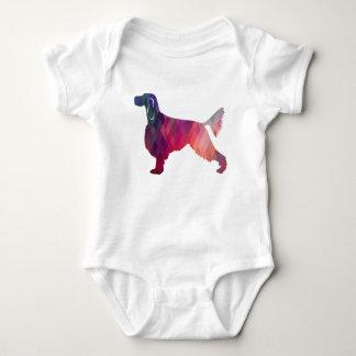 Gordon Setter Geometric Pattern Silhouette Pink Baby Bodysuit
