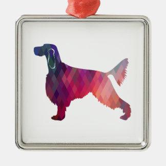 Gordon Setter Geometric Pattern Silhouette Pink Metal Ornament