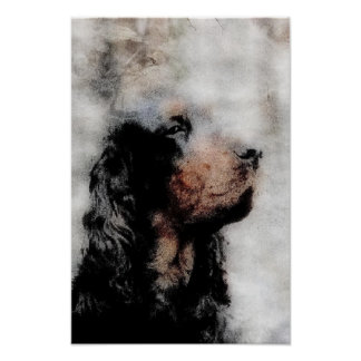 Gordon Setter Grunge Painting Canvas Print