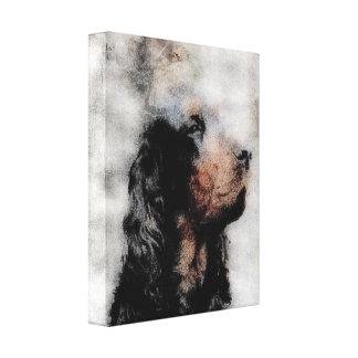 Gordon Setter Grunge Wrapped Canvas Print