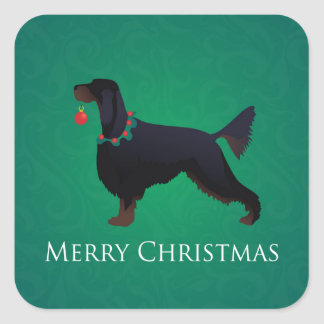 Gordon Setter Merry Christmas Design Square Sticker