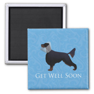 Gordon Setter Silhouette Get Well Soon Square Magnet
