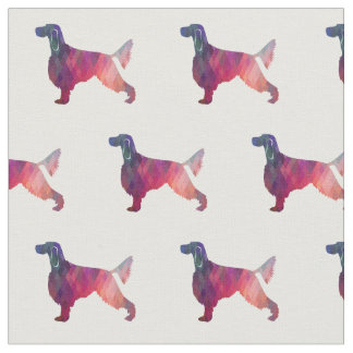 Gordon Setter Silhouette Tiled Fabric Black Purple