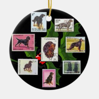 Gordon Setter World Stamps Christmas Ornament