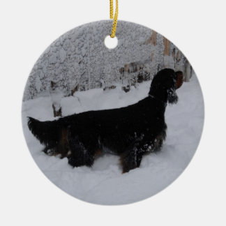 Gordon Setters In a Snowstorm Ornament