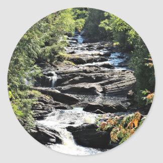 Gorge at Moxie Falls in West Forks Maine Classic Round Sticker