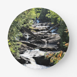 Gorge at Moxie Falls in West Forks Maine Round Clock