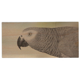 Gorgeous African Grey Parrot Wood USB 2.0 Flash Drive