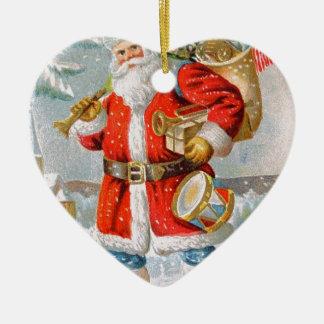 Gorgeous American Patriotic Christmas Santa Ceramic Heart Decoration