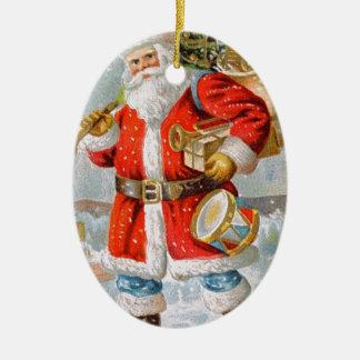 Gorgeous American Patriotic Christmas Santa Ceramic Oval Decoration