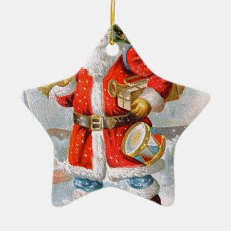 Gorgeous American Patriotic Christmas Santa Ceramic Star Decoration