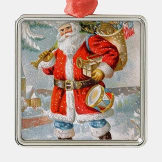 Gorgeous American Patriotic Christmas Santa Metal Ornament