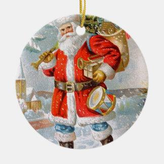 Gorgeous American Patriotic Christmas Santa Round Ceramic Decoration